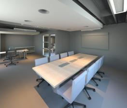Early rendering of expandable Conference Room.